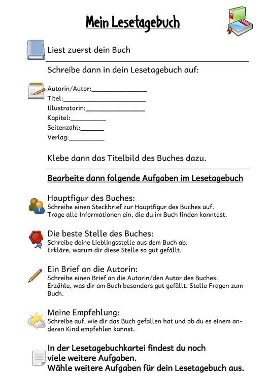 Dateieinleger Lesetagebuch 2pdf Grundschullernportal